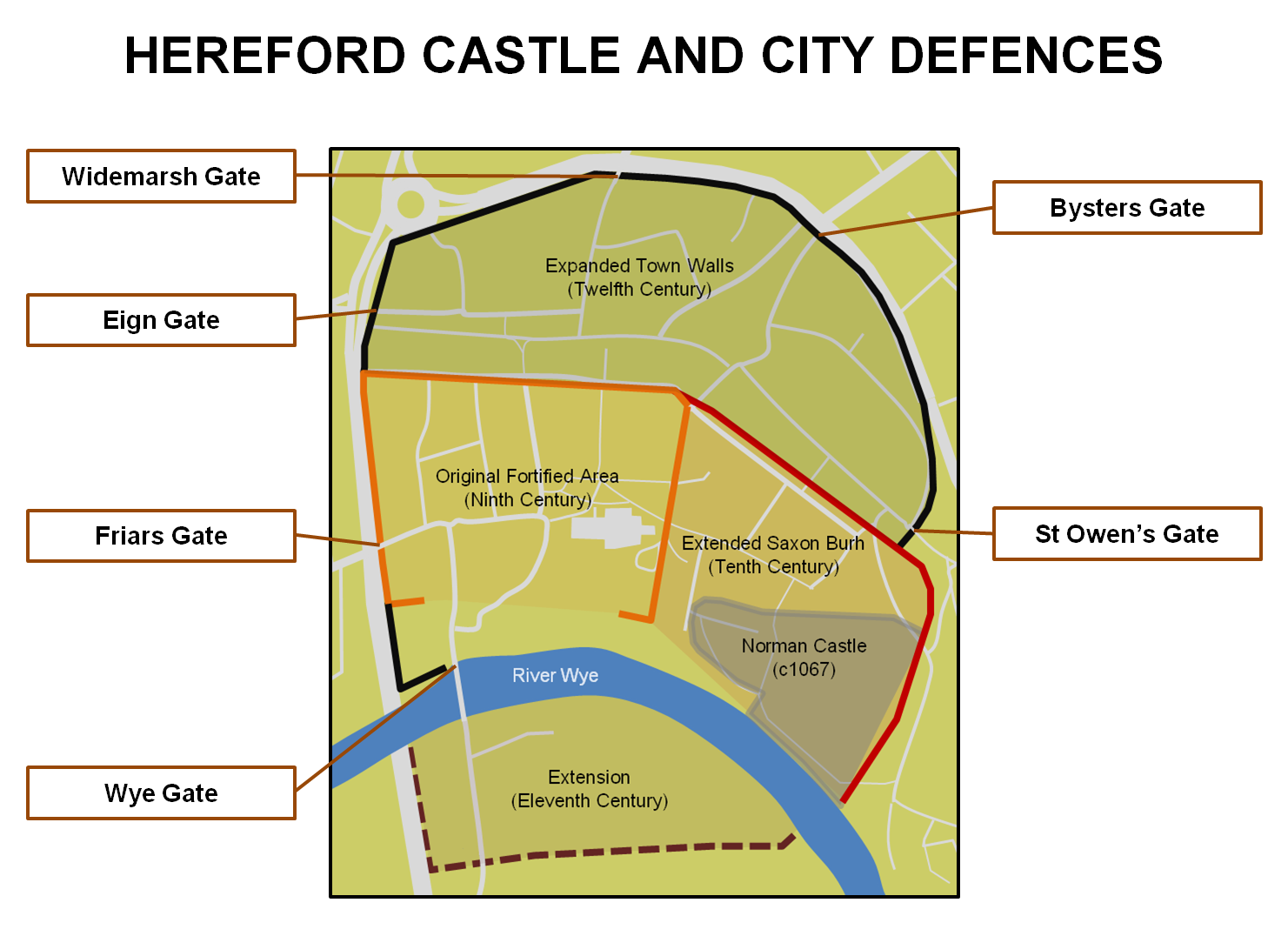 Hereford Castle and City Walls | Midlands | Castles, Forts and Battles