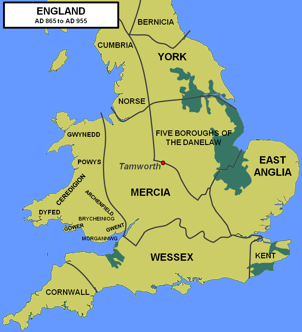 Map Of England In 9th Century.Tamworth Castle Midlands Castles Forts And Battles